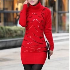 $10.78 Sweet Style Turtle Neck Solid Color Sequin Embellished Long Sleeves Slimming Thickened Sweater For Women