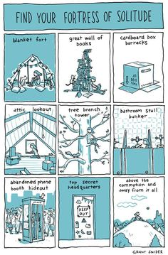 """Find Your Fortress of Solitude I illustrated Susan Cain's """"Quiet Power: The Secret Strengths of Introverts,"""" which will be published next week! It's a guide for young introverts that I wish I had read a couple decades earlier. Susan Cain, Life Comics, Fun Comics, Book Wall, Solitude, Great Books, Comic Strips, Comic Art, Finding Yourself"""