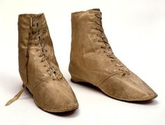 Boots, c. 1790's-early 1800's. Silk uppers, leather soles. Worn by Sarah Siddons.