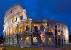 """The Colosseum; Rome, Italy 2004 & 2008 - The moment when I turned the corner of a busy Roman street and first laid eyes on it, was truly a """"jaw dropping"""" experience. Humbling, amazing, simply incredible. A must see. 4 Star Hotels, Rome Italy, Roman Empire, Stars, Florence, Europe, Night, Mansions, House Styles"""