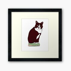 'Tux Cat on Tablet' Framed Print by What Cat, Cat Sitting, Off Colour, Box Frames, Framed Art Prints, Print Design, My Arts, Printed