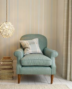 Draycott Stripe Duck Egg Wallpaper #lauraashleyhome