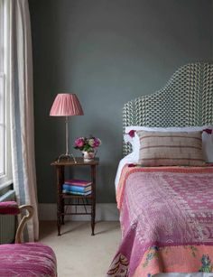 Kate Guinness bedroom with soft charcoal walls, boho headboard, deep rose handwoven textiles. Dream Bedroom, Home Bedroom, Girls Bedroom, Bedroom Decor, Decorating Bedrooms, Bedroom Modern, Bedroom Apartment, Bedroom Ideas, Interior Decorating
