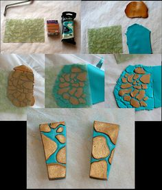 fimo two coloured blue and gold pebble / paving patterns tutorial Polymer Clay Canes, Fimo Clay, Polymer Clay Projects, Polymer Clay Creations, Polymer Clay Earrings, Clay Crafts, Crea Fimo, Clay Design, Schmuck Design