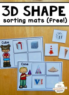 You'll love this set of free 3D shape sorting mats - with real images!
