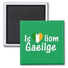 I Love Irish Gaeilge Gaelic Magnet 2 Inch Square Magnet