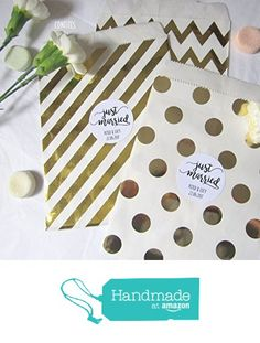 """Personalised Gold Party Paper Bags + Sticker Just Married"""" - Pack of 10 treat bags, wedding, party favours Party Favours, Favors, Gold Party, Gold Stripes, Paper Bags, Treat Bags, Just Married, Packing, Place Card Holders"""