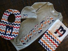 Super cute!!! Love this set! Maybe a different color chevron/fabric. Hand Appliqued Infant Gown, Burp Cloth, Bib and Newborn Cap Gift Set - Boy Chevron Pattern on Etsy, $63.00