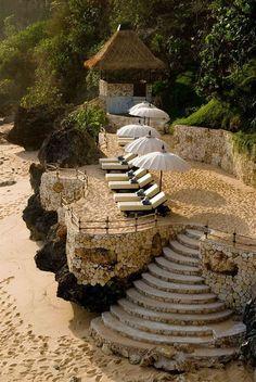 Beautiful beach steps in Bali
