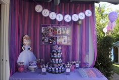 Gorgeous dessert table at a Sofia the First!  See more party ideas at CatchMyParty.com!  #partyideas #sofia