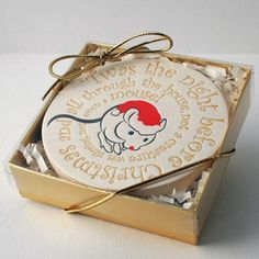 How adorable are these Christmas Mouse letterpress coasters from 1915 Press? The set of four coasters would make a great stocking stuffer or hostess gift and would be the perfect addition to a holiday gift basket, especially a wine and. Letterpress Business Cards, Letterpress Printing, Holiday Gift Baskets, Holiday Gifts, Christmas Themes, Christmas Diy, Merry Christmas, Christmas Coasters, Coaster Design