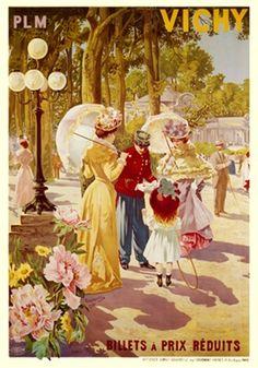 Vintage Railway Travel Poster - Vichy - France - 1902.