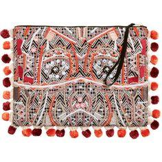 Perlenbesetzte Clutch 39,99 ($50) ❤ liked on Polyvore featuring bags, handbags, clutches, pom pom handbag, jacquard handbags, brown handbags and brown purse