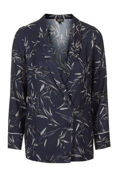 Bamboo Print Double-Breasted Blazer