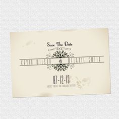 vintage postcard save the date wedding invitation
