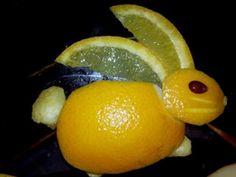 Orange rabbit, eye made of an apple seed Orangen Zitrone Hase Kaninchen Ostern eastern fun food kids obst
