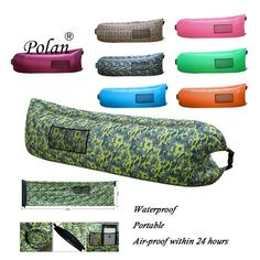 Polan Inflatable Portable Beach Lazy Bag Air Sleep Sofa Lounge Outdoor or Indoor Air Sleeping Couch Hangout Camping Bed Portable Waterproof Compression Sacks for Camping Beach Camouflage Yellow Sofa