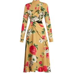 MSGM High-neck floral-print crepe dress ($1,091) ❤ liked on Polyvore featuring dresses, yellow multi, high neck dress, floral print dress, crepe dress, msgm dress and cut out dresses