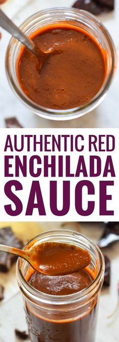 Made with dried chiles and a piece of Mexican chocolate, this Authentic Red Enchilada Sauce is perfect in many dishes and recipes including your favorite enchiladas! It's gluten free and vegetarian! #enchilada #enchiladasauce