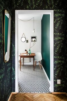 my scandinavian home: patterned tiles and bamboo wallpaper