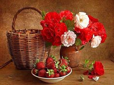 Strawberry Flower Basket Full Drill Diamond Painting Diamond Painting Embroidery DIY Diamond Painting Kit for Living Room Home Wall Decoration Strawberry Flower, Box Of Sunshine, Rose Arrangements, Floral Arrangement, Color By Numbers, Paint By Number Kits, Rose Art, Cross Paintings, Paintings Famous
