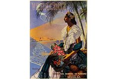 """Mexican Travel Poster - Lithographic travel poster for Veracruz, Mexico, signed J. Bueno Diaz. The image features moonlight, the ocean, and tropical flowers. The poster was printed circa 1950. Mounted on linen. Size: 18.5""""W x 24""""H. Origin: Mexico. Condition: Very Good; some wear. Reg $700. Now $599. (3/1/13) OKL"""