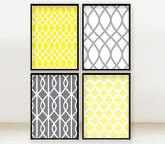 Sunrise and Grey Skies - Set of 4 Pattern Prints - 5x7 Poster - Yellow and Grey via Etsy