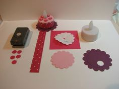 great idea - birthday cake out of paper glued onto battery tealight