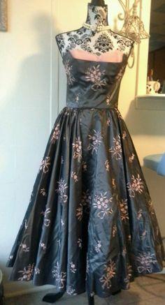 Vintage Prom Bridesmaid Dress  1950's 1960's Slate Gray Taffeta W/Pink Floral