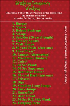 Birthday Countdown Crossfit Workout