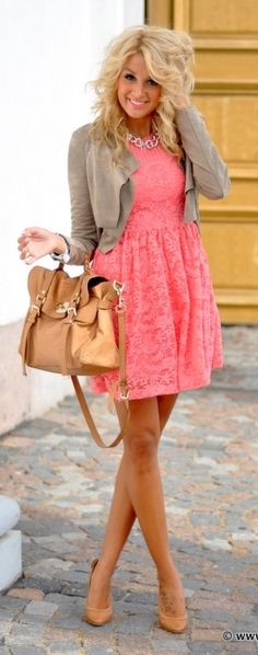 Super cute bright pink dress and gray sweater