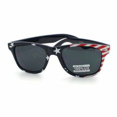 738791eaa4d Patriotic USA Sunglasses Red White and Blue Navy American Flag Print Shades
