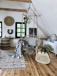 Weekend House, Attic Rooms, Cottage Interiors, House In The Woods, Hanging Chair, Home And Living, Kitchen Design, Sweet Home, New Homes