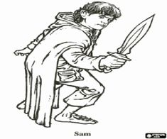 the hobbit samwise gamgee coloring page