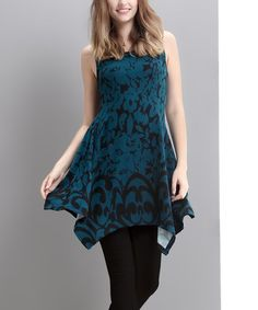 Look what I found on #zulily! Emerald Abstract Handkerchief Tunic #zulilyfinds