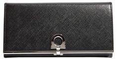 Women's Salvatore Ferragamo 'Gancini Icona' Saffiano Calfskin Wallet - Black - $595.00