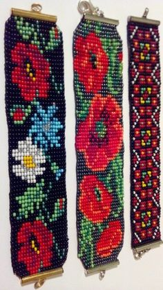 Гердан-стиль (прикраси з бісеру) Bead Loom Patterns, Peyote Patterns, Beading Patterns, Cross Stitch Patterns, Bead Jewellery, Beaded Jewelry, Beaded Embroidery, Cross Stitch Embroidery, Safety Pin Jewelry