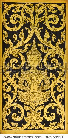 stock photo : pattern in traditional Thai style art painting on window of the temple