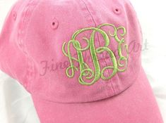 ec00231bb3b KIDS Monogram Baseball Cap Hat for Girls Boys Youth Size Name Monogram Hats