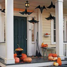 imagenes halloween decoracion puerta miedo clabazas murcielagos ideas