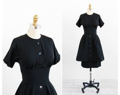 vintage 1950s dress / 50s black dress / Black by RococoVintage