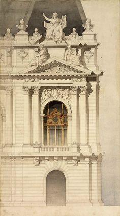 argentoalmoure:   Deglane, Henri-Adolphe- Auguste       Palais cercle des Beaux-Arts  1881  Dessin scolaire d'architecture