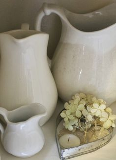 Nordic - White - Ironstone Pitchers - via Liz Loves Vintage