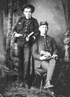Theodore Perry Biddle and his son, Lloyd Adelbert Biddle taken just before they went to serve in Co. I, 77th Ohio Vol. Infantry during the Civil War. They both were in the Battle of Pittsburg Landing which was part of the Battle of Shiloh in Tennessee. Theodore Perry died at the Union Army Garrison, Little Rock, AR on 14 Dec 1863. His son, Lloyd was with him when he died.   Lloyd served in the same battles. He was captured at Mark's Mills and was a POW at Tyler, TX for 9 months.