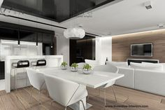 Projekt salonu Inventive Interiors - jasne drewno na podłodze i ścianie z tv