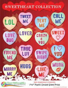 Valentine Sweetheart 1 Collection Conversation Hearts by CloverMillGraphicsCA on Etsy Photo Booth Frame, Photo Booth Props, Life Size Cutouts, Friendly Plastic, Instagram Frame, Converse With Heart, Party Pictures, Party Props, Valentines Day Party