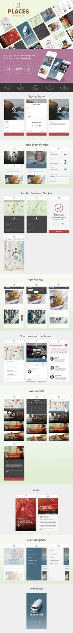 Places Mobile UI Kit (Sketch)