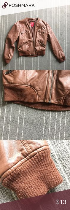 Brown bomber jacket Only worn a couple times, leather-look jacket, fits nicely, substantially warm! I wear a size 8 dress/pant, and this fits well Collection B Jackets & Coats