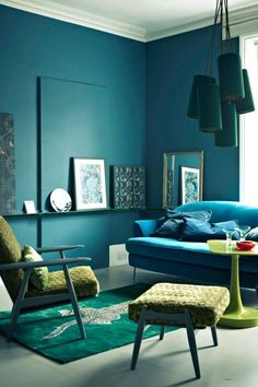 appreciate that this isn't really your style (or wall colour) but like the use of blue/teal/emerald and lime green