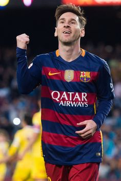 Lionel Messi of FC Barcelona celebrates after scoring the opening goal during the La Liga match between FC Barcelona and Sporting Gijon at Camp Nou on April 23, 2016 in Barcelona